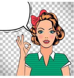 pop art girl showing ok sign vector image