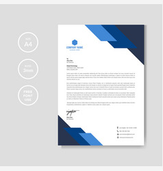 Professional blue letterhead graphic template vector