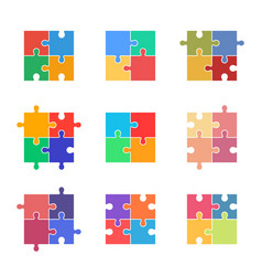 Puzzle icon set jigsaw colorful pieces vector