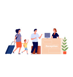 Reception desk hotel area travel family and vector