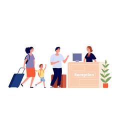 reception desk hotel area travel family vector image