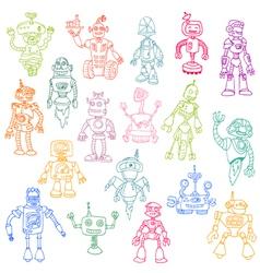 Robots Hand Drawn Doodle Set vector
