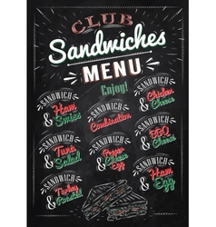 Sandwiches menu chalk color vector