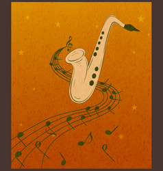 Saxophone and musical notes on orange grunge vector