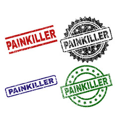 Scratched textured painkiller seal stamps vector