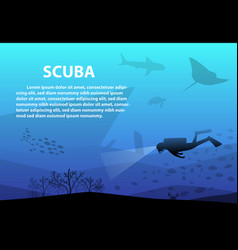 scuba in deep blue sea with ocean life art vector image