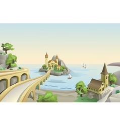 Sea landscape with bridge an vintage buildings on vector image