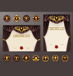 Set of elegant templates of diploma with lace vector