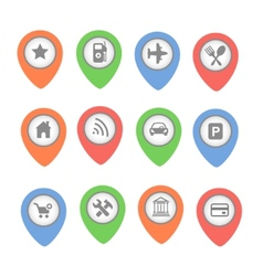 Set of map pointers with icons isolated on vector image