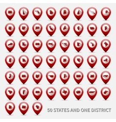 set us states maps united america 50 and 1 vector image