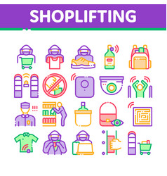shoplifting collection elements icons set vector image