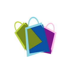 Shopping bags logo design icon online shop symbol vector