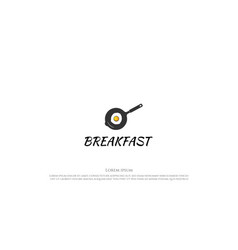 Simple minimalist frying pan with egg sunny side vector