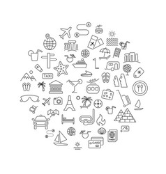 simple travel icons set inscribed in round shape vector image