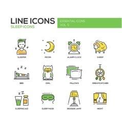 Sleeping - line design icons set vector