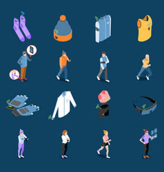 Smart clothes icon set vector