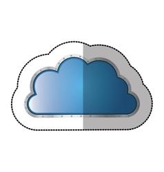 Sticker metallic cloud tridimensional in cumulus vector