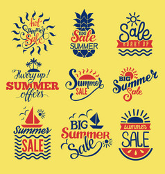 Summer badge logo seasonal sale hot offer shop vector