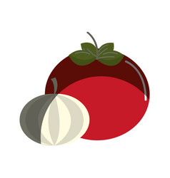 Tomato and onion vegetable icon vector