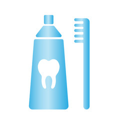 toothbrush and toothpaste icon healthy vector image
