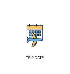 trip date concept 2 colored line icon simple vector image