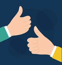 two hand with like ok thumb up gesture vector image