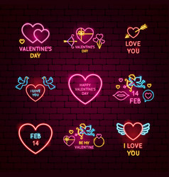 valentine day neon label set vector image