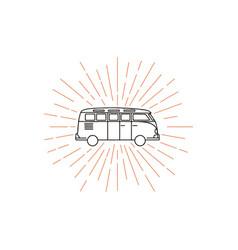 Vintage hipster camper van logo emblems vector