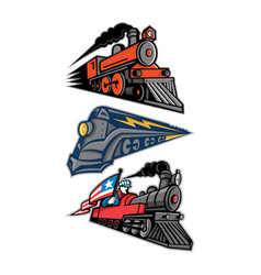Vintage steam locomotive mascot collection vector