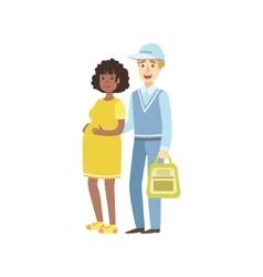 Volunteer Helping Pregnant Woman vector image