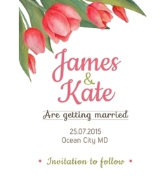 watercolor wedding invitation card with vector image
