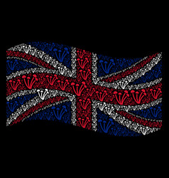 Waving british flag mosaic of mushrooms items vector