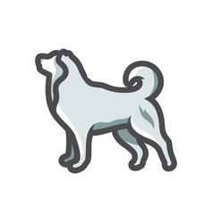 white fluffy dog icon cartoon vector image