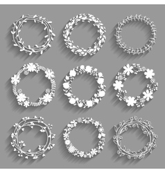 White wreaths with shadows vector
