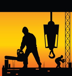workers on a construction site vector image
