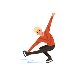 Young figure skater man skating male athlete vector