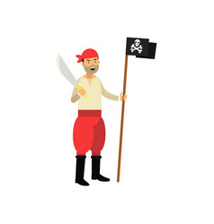 Cartoon aggressive pirate character holding jolly vector