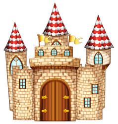castle tower with wooden door vector image vector image