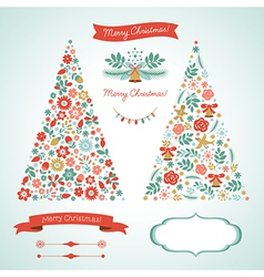 Christmas trees and graphic elements vector image vector image