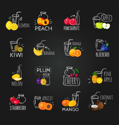 fresh fruits colorful chalkboard icons set vector image vector image