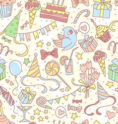 Happy birthday party seamless colored pattern with vector image vector image