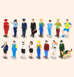 professions isometric people set vector image