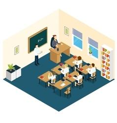 School Classroom Isometric Design vector image