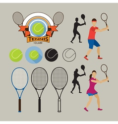 Tennis Player and Graphic Elements vector image vector image