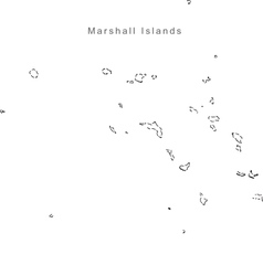 Black White Marshall Islands Outline Map vector image vector image