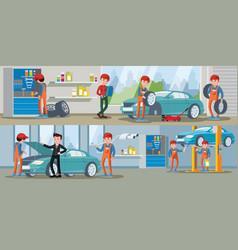 car service horizontal banners vector image