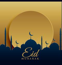 elegant eid festival greeting card design vector image