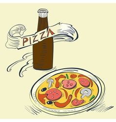 pizza with bottle of soda vector image