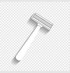safety razor sign white icon with soft vector image vector image