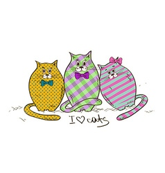 with three funny fat cats vector image vector image